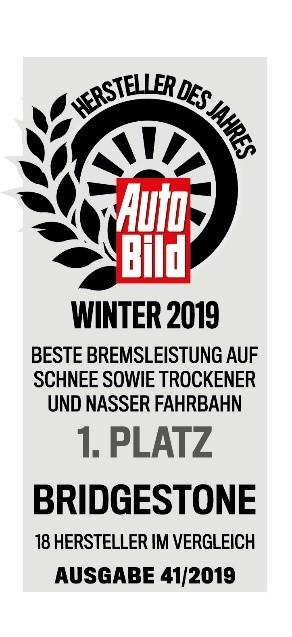 """Bridgestone premiada """"Fabricante do ano para o Inverno de 2019"""""""